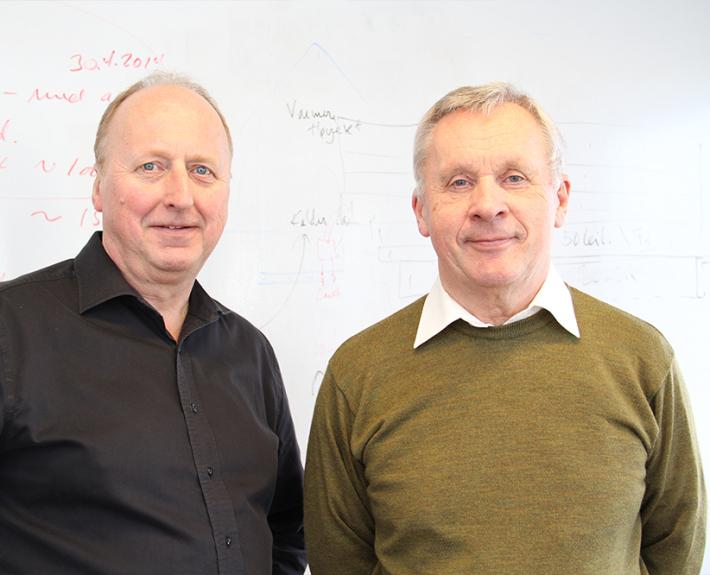 Ledelsen i Radonkjeden består av t.v. salgsdirektør Helge Jakobsen, og daglig leder Karsten A. Fredriksen. Deres mål er å få ned radonnivået i Norge. (Foto: Helene Aarnes).
