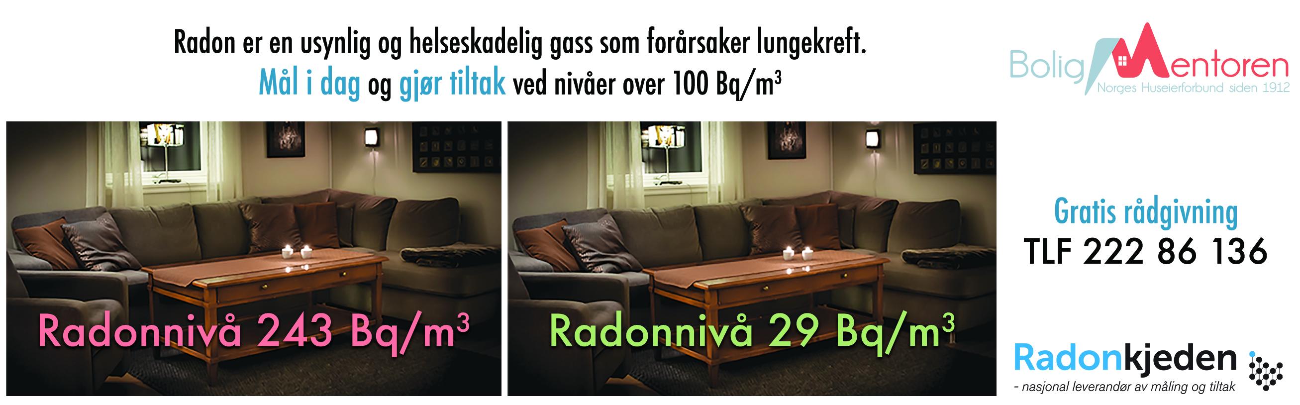 Radon er en usynlig og helseskadelig gass som hvert år tar livet av over 300 mennesker. Målesesongen er nå i gang. (Illustrasjon: Radonkjeden).