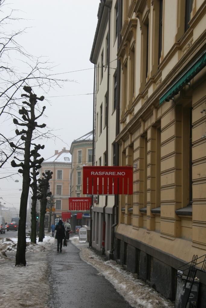 Det er ikke nok å sette ut varsel om rasfare. Huseier/gårdeier må fjerne snø og is fra taket. (Foto: Helene Aarnes).